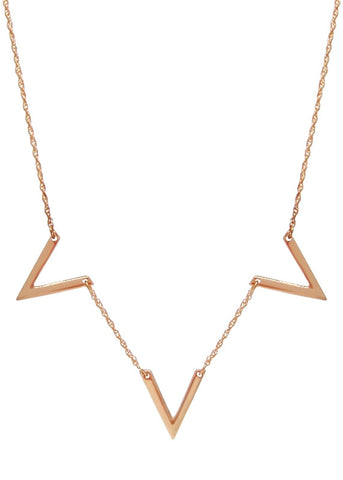 Golden Thorn Necklace Pendant Spike Collar Bib 18k Gold Plated