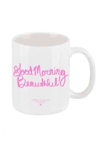 Good Morning Beautiful Coffee Mug in Bubble Gum Pink