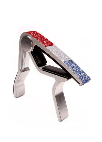 GuitarSugar™ Jim Dunlop® Glitter Guitar Capo in GlitzSugar™ Sparkling Red, White + Blue