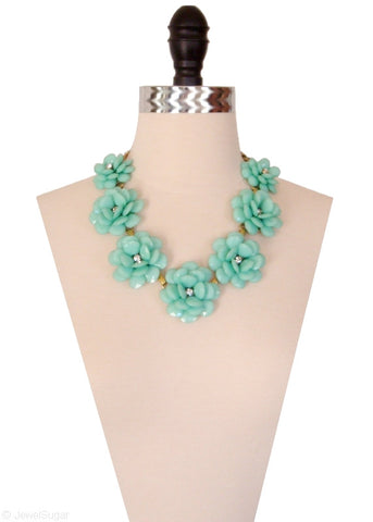In Full Bloom Necklace in Mint Green Statement Necklace