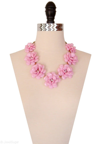 In Full Bloom Necklace in Rose Blush Floral Statement Necklace