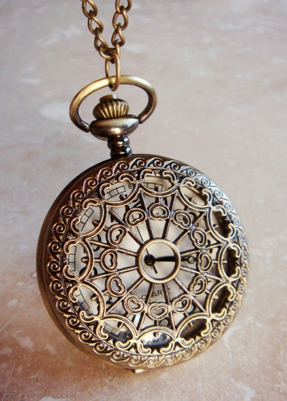 Tea Time Pocket Watch Pendant Antique Gold Clock Pendant