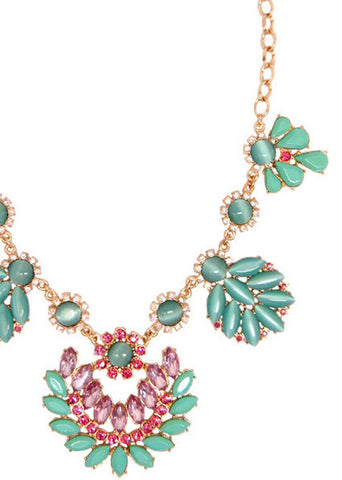 Julep Marquise Pink Mint Turquoise Statement Pendant Necklace