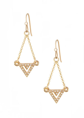 Pave Crystal Chevron Drop Earrings - 14k Gold-Filled