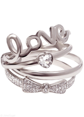 Love Heart Bow Bangles - Platinum Silver