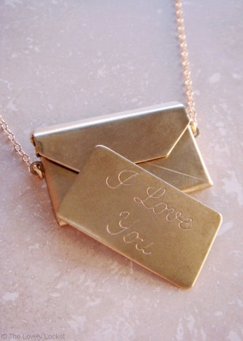 Love Letter Necklace 24k Gold Dipped Locket