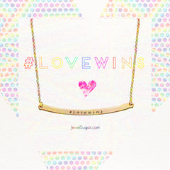 Love Wins Gold Vermeil Curved Plate Necklace #lovewins