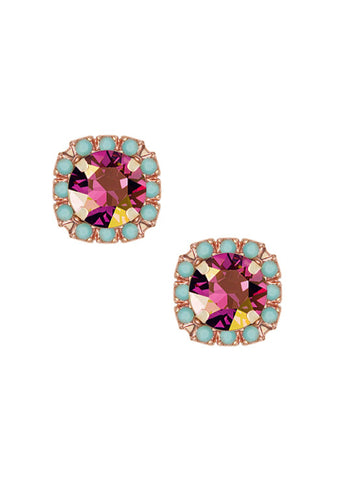 Mini Pavé Crystal Cut Studs - Turquoise + Golden Lilac