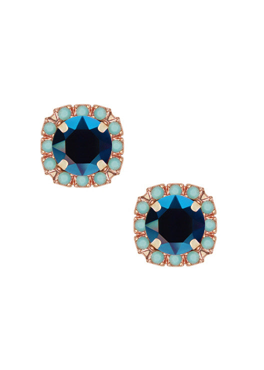 Mini Pavé Crystal Cut Studs - Turquoise + Metallic Midnight