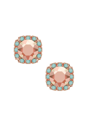 Mini Pavé Crystal Cut Studs - Turquoise + Metallic Rose Gold