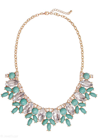 Mint Marquise Bloom Bib Necklace