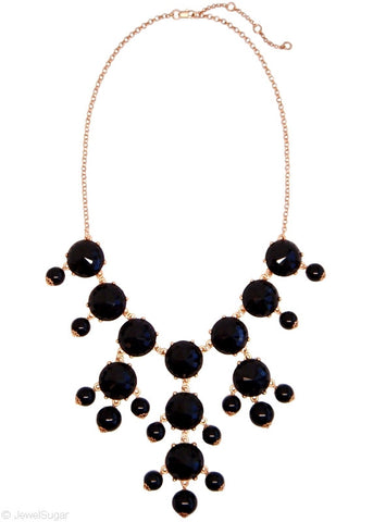 Onyx Bauble Bib Necklace