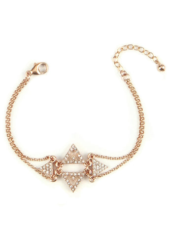 Pavé Crystal Chevron Cluster Bracelet - 14k Gold-Filled