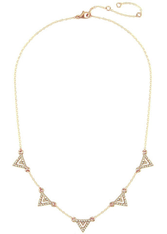 Pavé Crystal Chevron Necklace - 14k Gold Filled