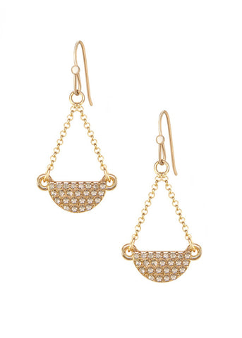 Pave Crystal Half Moon Drop Earrings - 14k Gold-Filled