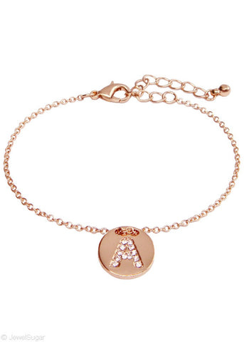 Pave Crystal Initial Bracelet - 14k Rose Gold Filled