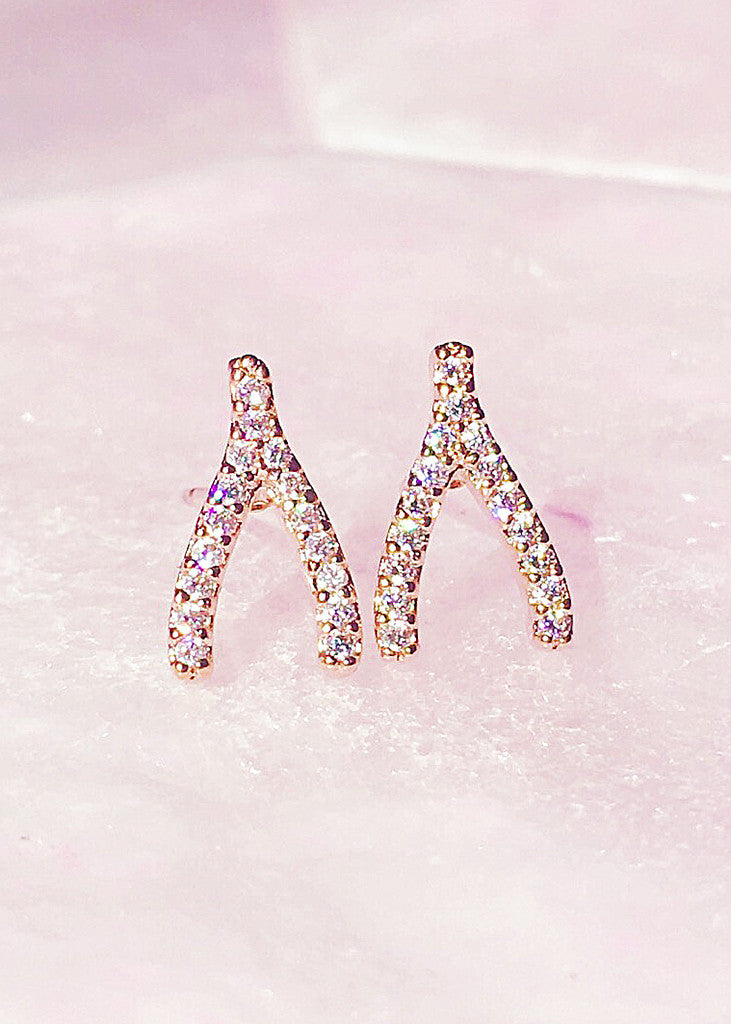 Wishbone Pave Crystal Stud Earrings - Rosé Gold™