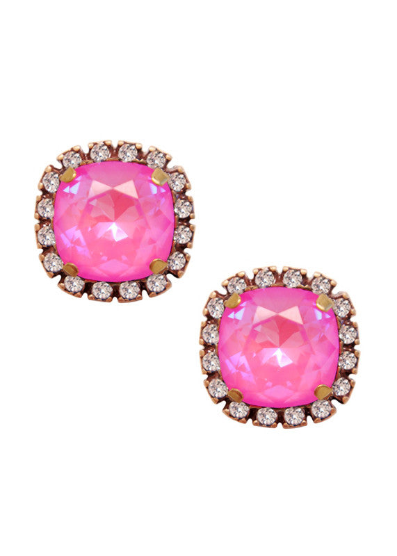 Swarovski Pave Cushion Cut Studs - Opalescent Candy Pink