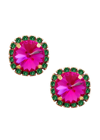 Swarovski Pave Cushion Cut Studs in Emerald Green and Fuchsia Pink