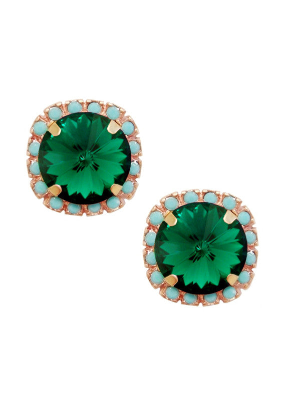Swarovski Pave Cushion Cut Studs in Turquoise Blue and Emerald Green