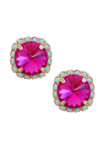 Swarovski Pave Cushion Cut Studs in Turquoise Blue and Fuchsia Pink