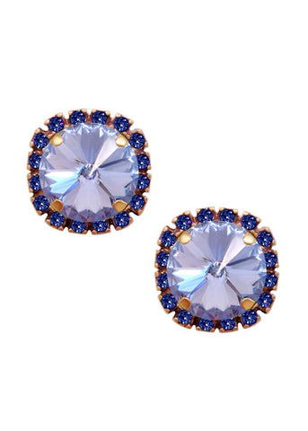 Swarovski Pave Cushion Cut Studs in Sapphire Blue and Lavender Purple