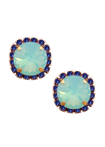 Swarovski Pave Cushion Cut Studs in Sapphire Blue and Opalescent Ocean Blue