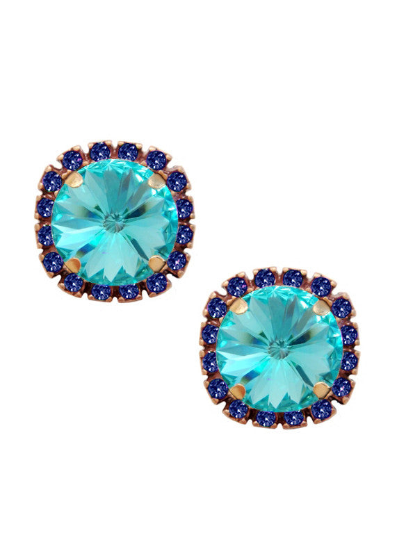 Swarovski Pave Cushion Cut Studs in Sapphire Blue and Turquoise Blue