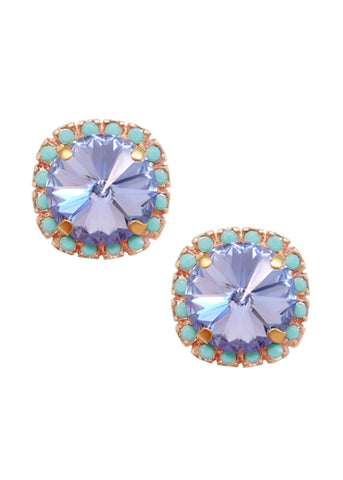 Pave Cushion Cut Studs Earrings Lavender Purple + Turquoise Blue