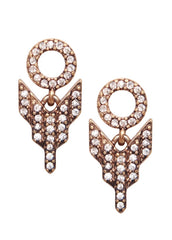 Pave Deco Arrow Drop Earrings