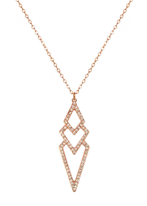 Pave Crystal Diamond Charm Necklace  - 14k Rose Gold-Filled