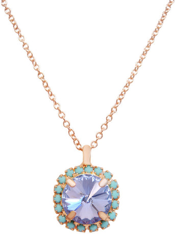Pave Swarovski Diamond Cut Pendant Necklace 14k Gold - Turquoise + Lavender