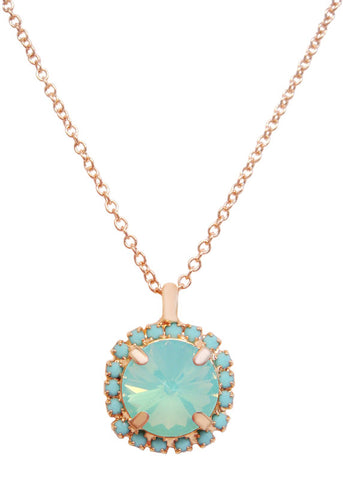 Pave Swarovski Diamond Cut Pendant Necklace 14k Gold - Turquoise + Opalescent Ocean Blue
