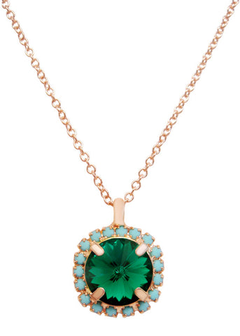 Pave Swarovski Diamond Cut Pendant Necklace 14k Gold - Turquoise + Emerald