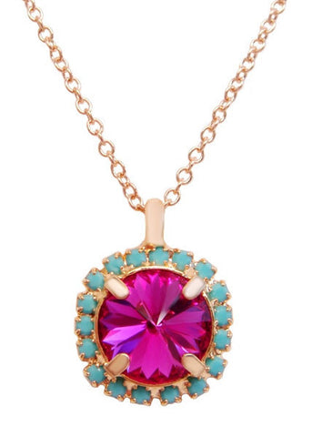 Pave Swarovski Diamond Cut Pendant Necklace 14k Gold - Turquoise + Fuchsia