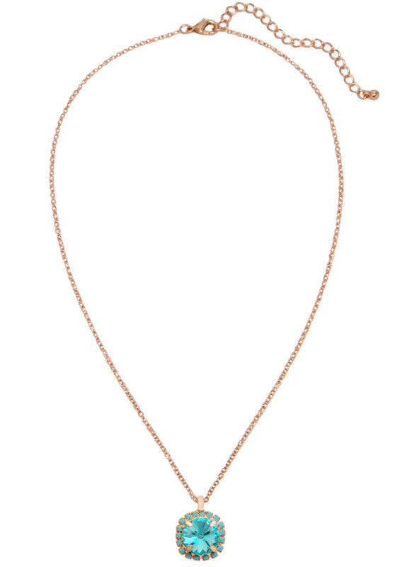 Pave Swarovski Diamond Cut Pendant Necklace 14k Gold - Turquoise
