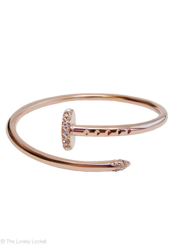 Polished Nail Bangle in 18k Rose Gold
