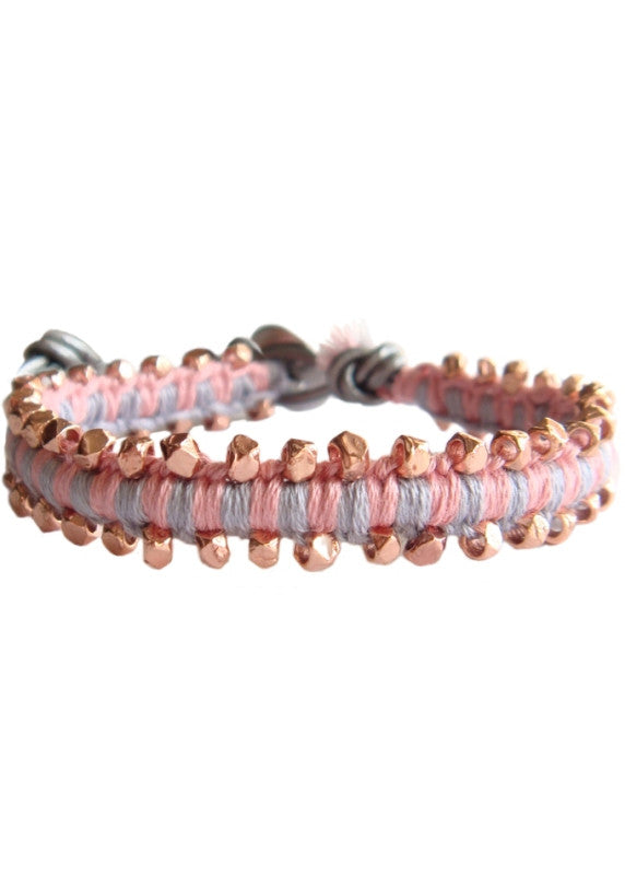 Rose Gold Nugget Leather Wrap Bracelet - Cashmere Grey + Classic Pink