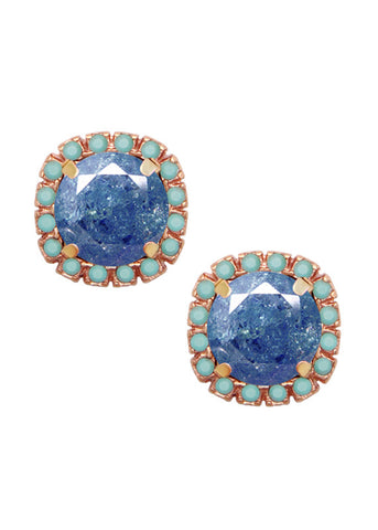 FrostSugar™ Pave Crystal Cut Studs - Turquoise + Sapphire