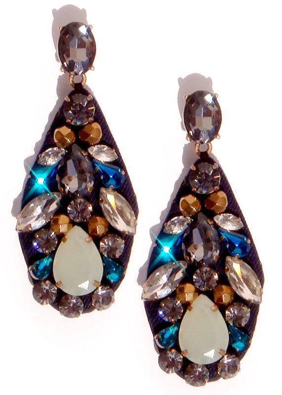Silk Jeweled Drop Earrings