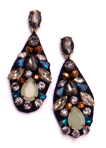 Silk Jeweled Crystal Drop Earrings