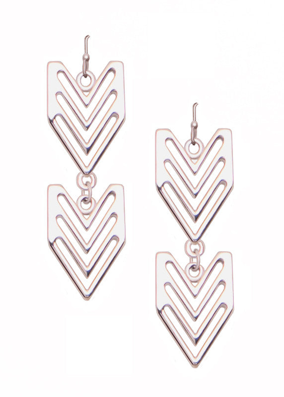 Double Chevron Drop Earrings in Silver