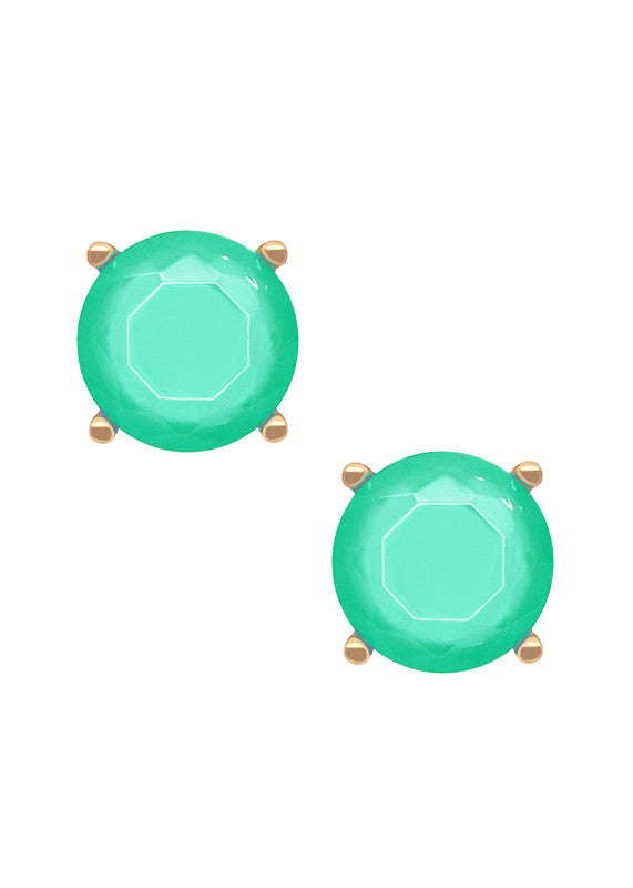 Solitaire Gem Stud Earrings - Luminous Jade