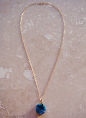 FrostSugar™ Sparkling Blue Royale Genuine Druzy 14k Gold Necklace