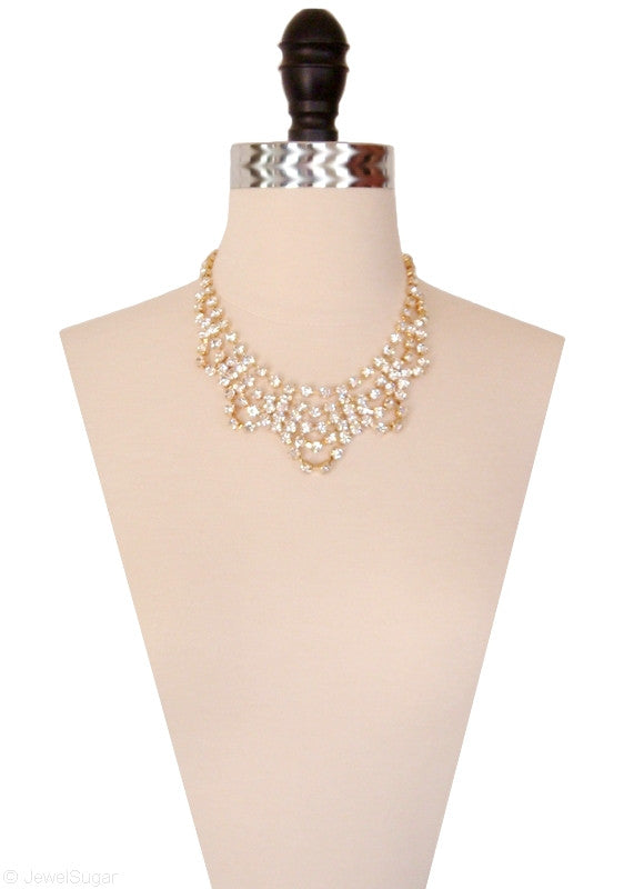 Sparkling Scallop Crystal Tiered Necklace