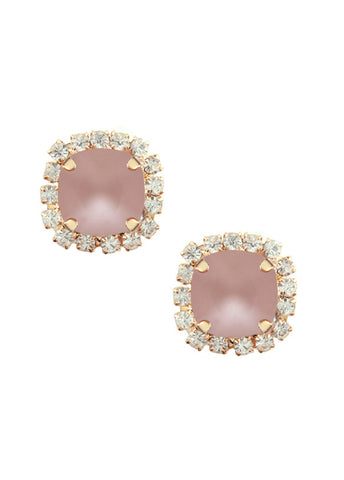 Swarovski Pave Cushion Cut Studs - Frosted Rose