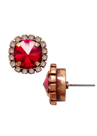 Swarovski Pave Cushion Cut Studs Earrings in Ruby Red Crystal
