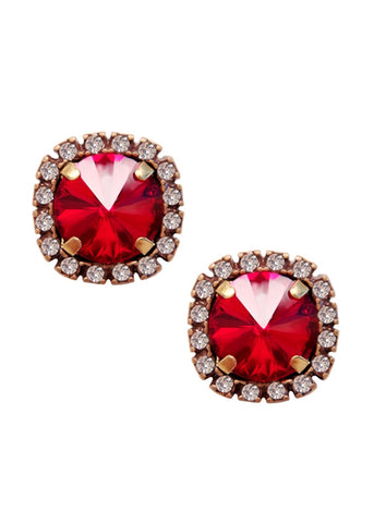 Pave Cushion Cut Studs Earrings Swarovski Ruby Red