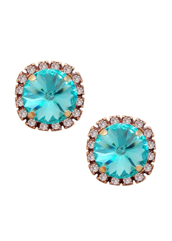 Pave Cushion Cut Studs Earrings Swarovski Turquoise Blue