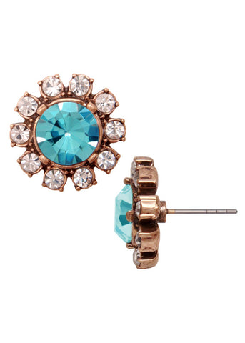 Crystal Posy Stud Earrings - Turquoise